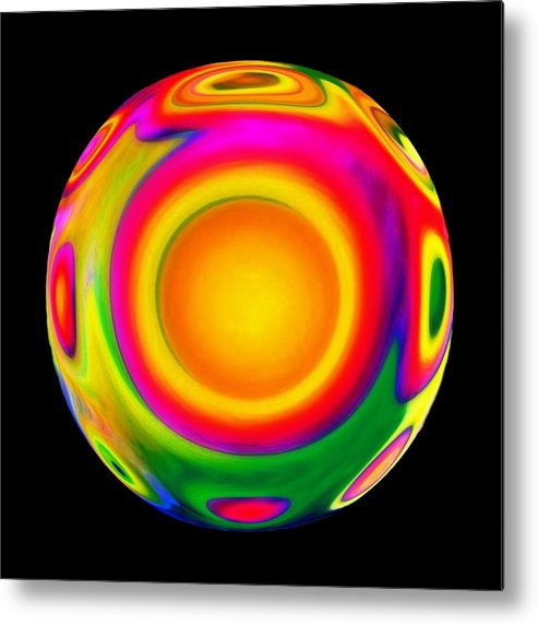 Sphere Metal Print featuring the mixed media Awareness by Jacqueline Migell