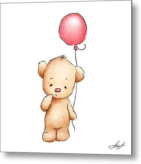 Teddy Bear With Red Balloon Metal Print