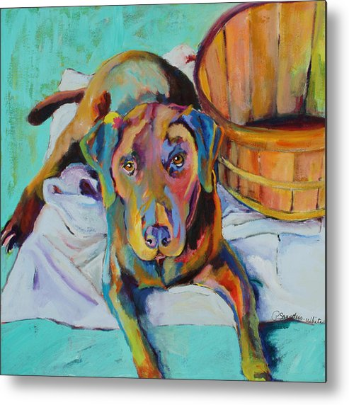 Chocolate Lab Metal Print featuring the painting Basket Retriever by Pat Saunders-White