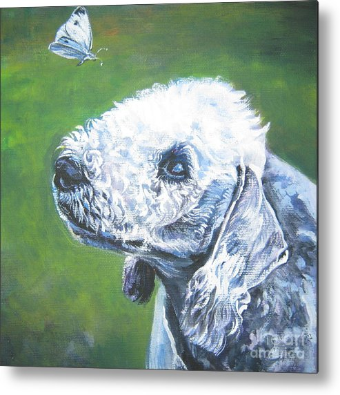 Bedlington Terrier Metal Print featuring the painting Bedlington Terrier With Butterfly by Lee Ann Shepard