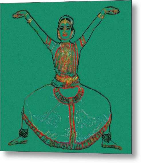 Classic Indian Dance Metal Print featuring the digital art Bharatanatyam 6 by Claudio Fiori