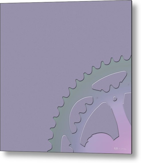 'two-wheel Drive' Collection By Serge Averbukh Metal Print featuring the digital art Bicycle Chain Ring On Lavender Mist - 1 Of 4 by Serge Averbukh