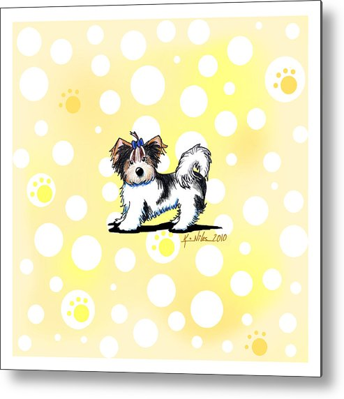 Biewer Yorkie Terrier Metal Print featuring the drawing Biewer Terrier Banana Cream by Kim Niles