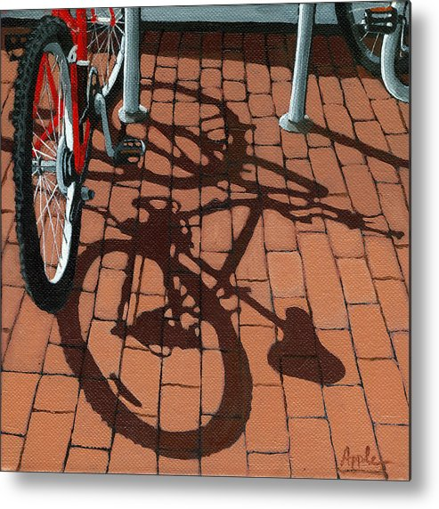 Bicycles Metal Print featuring the painting Bike And Bricks by Linda Apple