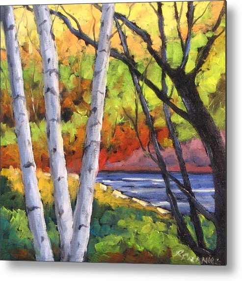 Art Metal Print featuring the painting Birches 06 by Richard T Pranke