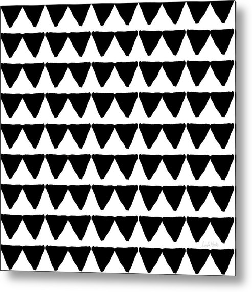 Triangles Metal Print featuring the mixed media Black And White Triangles- Art By Linda Woods by Linda Woods