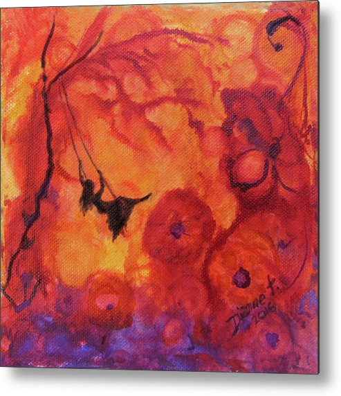 She Swings Into Her Fantasy Garden Metal Print featuring the painting Bliss by Dianne Tylski