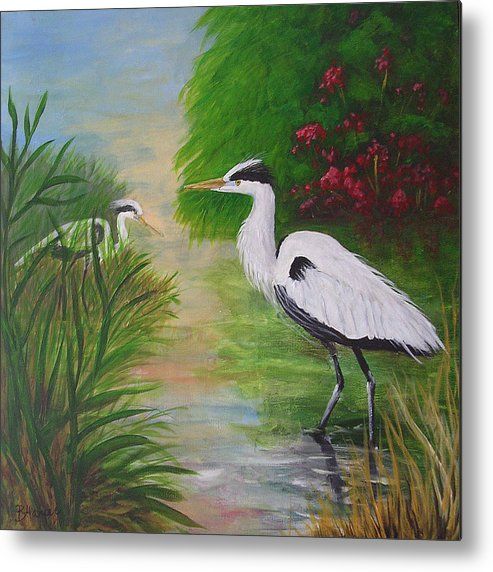 Heron Metal Print featuring the painting Blue Herons by Barbara Harper