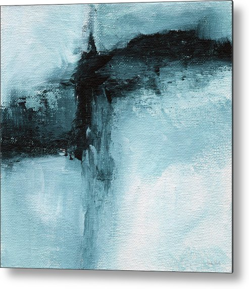 Abstract Metal Print featuring the painting Blue Ridge- Abstract Art By Linda Woods by Linda Woods