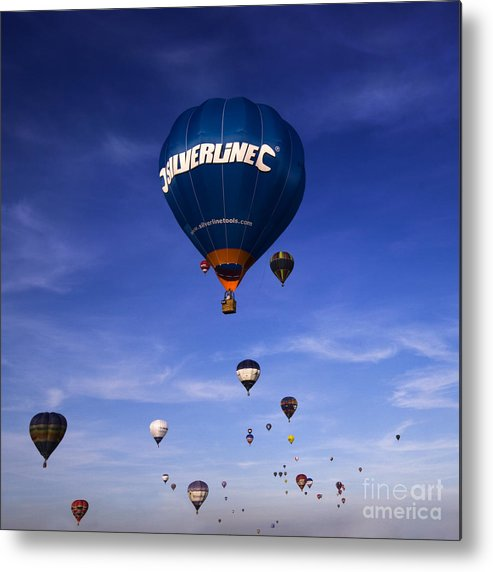 Balloon Fiesta Metal Print featuring the photograph Blue Skies by Angel Ciesniarska