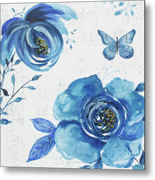 Blue Metal Print featuring the painting Blue Symphonie In The Garden 1 by Jean Plout