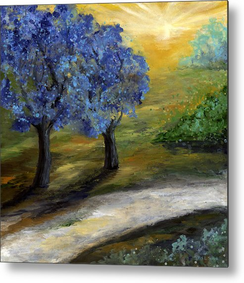 Trees Metal Print featuring the painting Blue Trees by Laura Swink