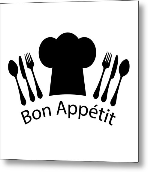 French Metal Print featuring the digital art Bon Appetit French Chef by Antique Images