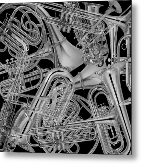 Brass Musical Instruments Metal Print featuring the photograph Brass Instruments Bw by Andrew Fare