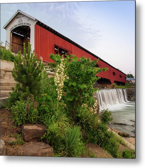 America Metal Print featuring the photograph Bridgeton Covered Bridge - Indiana Square Art by Gregory Ballos