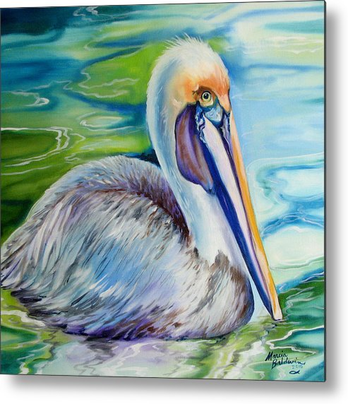 Birds Metal Print featuring the painting Brown Pelican Of Louisiana by Marcia Baldwin