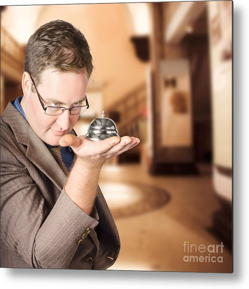 Service Metal Print featuring the photograph Business Man With Service Bell. Consumer Advice by Jorgo Photography - Wall Art Gallery