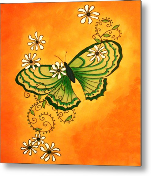 Butterfly Metal Print featuring the painting Butterfly Doodle by Karen R Scoville