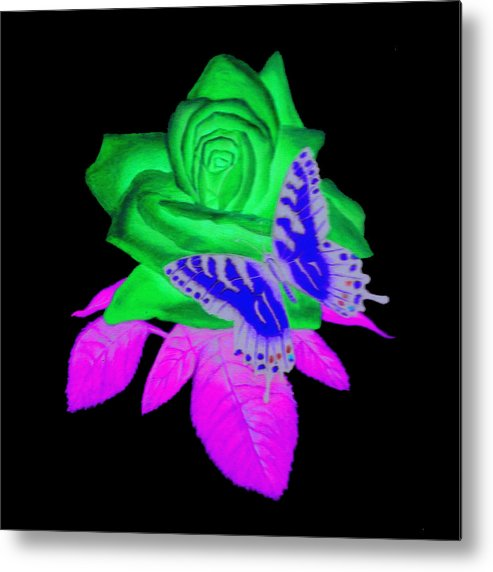 Butterfly Metal Print featuring the digital art Butterfly Sitting On A Rose by Larry Ryan