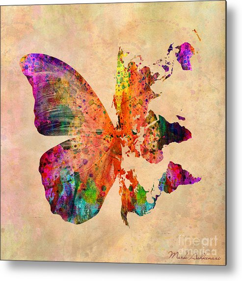 Butterfly Metal Print featuring the digital art Butterfly World Map by Mark Ashkenazi