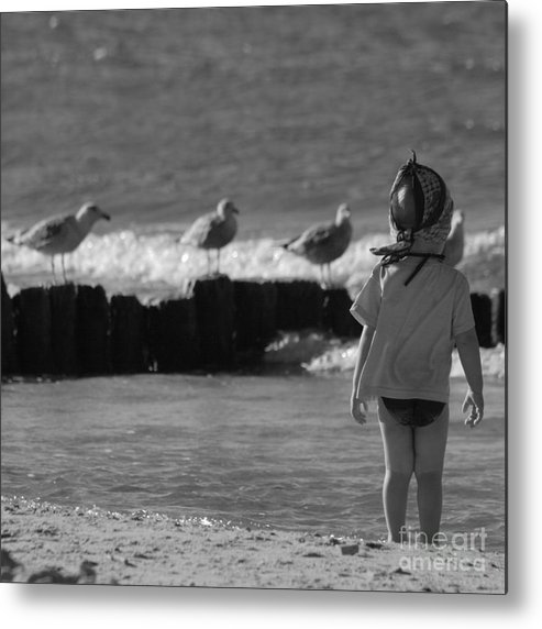Child Metal Print featuring the photograph By The Sea by Angel Ciesniarska