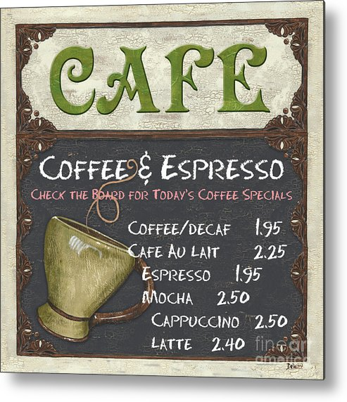 Cafe Metal Print featuring the painting Cafe Chalkboard by Debbie DeWitt
