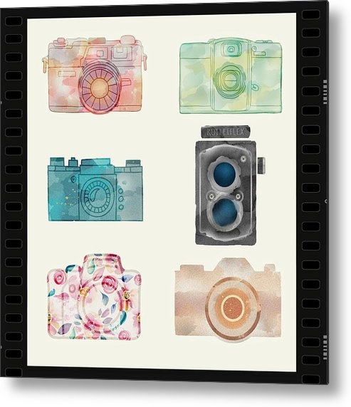 Collage Metal Print featuring the digital art Cameras Of Today And Yesteryear by Charles Feagans