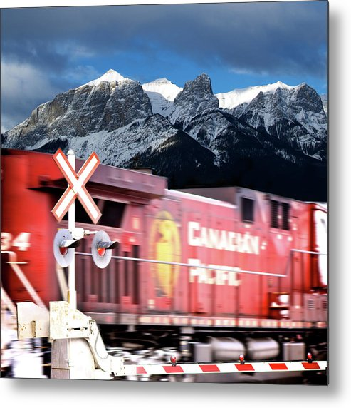 Train Metal Print featuring the photograph Canadian Pacific Trail Slices Through The Rockies by Lisa Knechtel