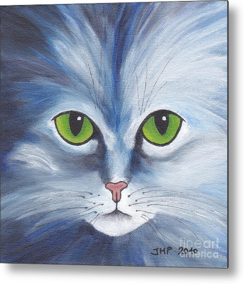 Painting Metal Print featuring the painting Cat Eyes Blue by Jutta Maria Pusl