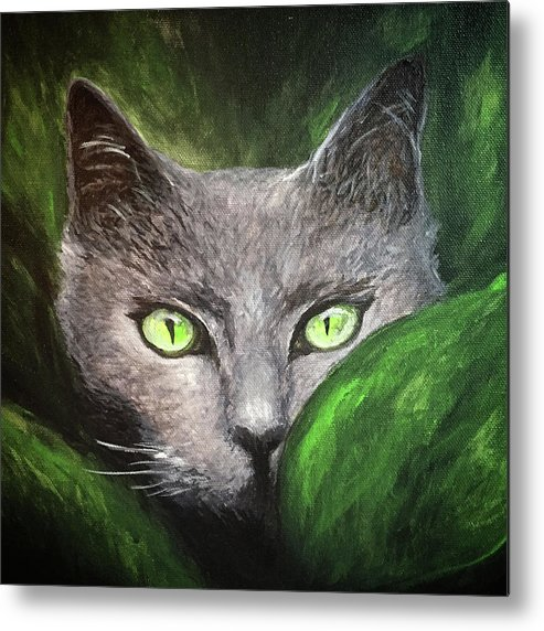 Cat Metal Print featuring the painting Cat Eyes by Michelle Pier