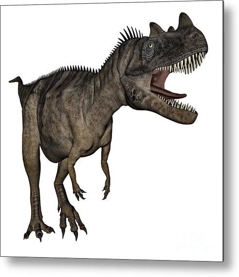Dinosaur Metal Print featuring the digital art Ceratosaurus Dinosaur Roaring by Elena Duvernay