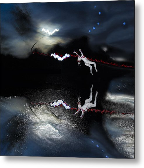 Landscape. Moon Rising Photograph Metal Print featuring the painting Chasing The Moon by Sarah King