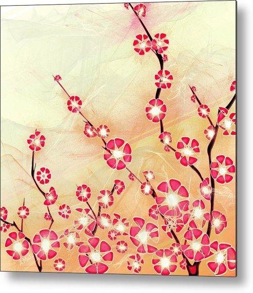 Decorative Metal Print featuring the digital art Cherry Blossom by Anastasiya Malakhova