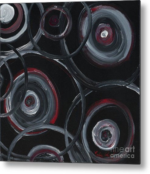 Circles Metal Print featuring the painting Choices In Black by Nadine Rippelmeyer
