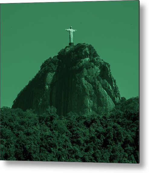 Interiors Metal Print featuring the photograph Christ The Redeemer In Green Sky by Fabio Sola