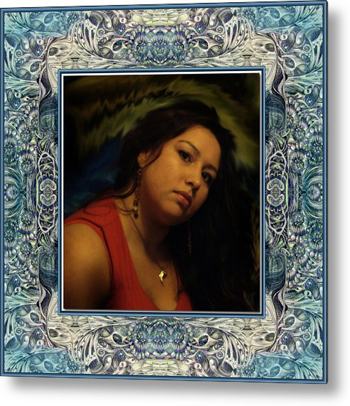 Portrait Glamour Fantasy Muse Metal Print featuring the digital art Christan Cameo by Otto Rapp