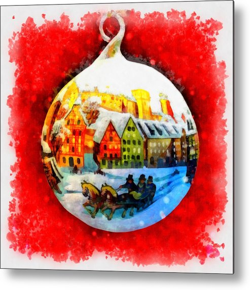 Christmas Metal Print featuring the painting Christmas Ball Ball by Esoterica Art Agency