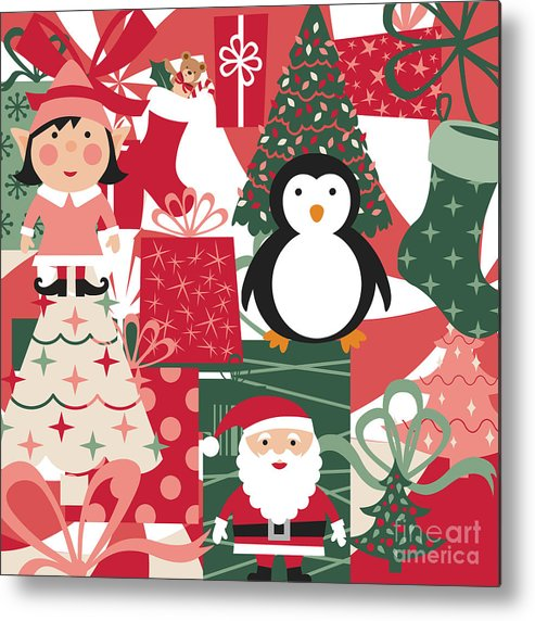 Card Metal Print featuring the digital art Christmas Collage by Jenny Revitz Soper
