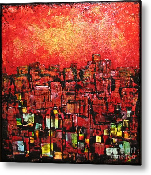Abstract Metal Print featuring the painting City Lights by Shadia Derbyshire