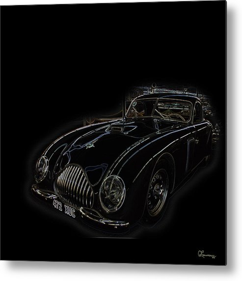 Classic Car Antique Show Room Vehicle Glowing Edge Black Light Chevy Dodge Ford Ride Metal Print featuring the photograph Classic 2 by Andrea Lawrence