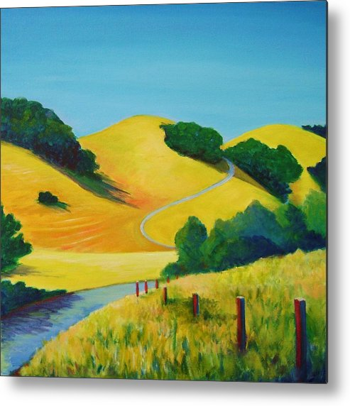 Landscapes Metal Print featuring the painting Clear Fall Day At Briones by Stephanie Maclean