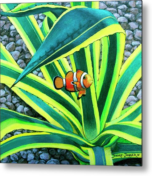 Fish Metal Print featuring the painting Clownfish by Snake Jagger