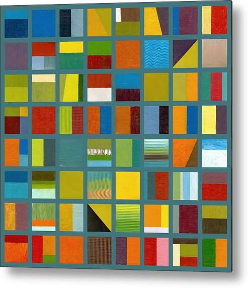 Abstract Metal Print featuring the painting Color Study Collage 67 by Michelle Calkins