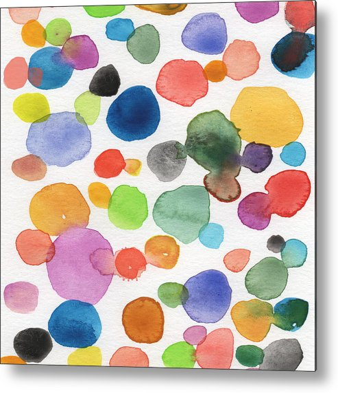 Abstract Watercolor Art Metal Print featuring the painting Colorful Bubbles by Linda Woods