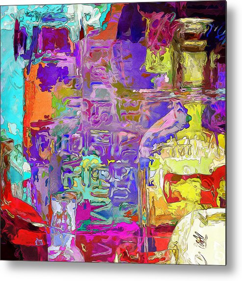Bottles Metal Print featuring the digital art Colorful Glass Bottles Abstract by Phil Perkins