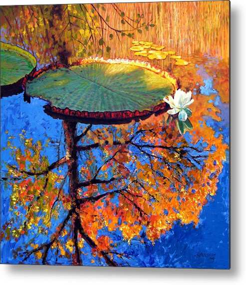 Fall Metal Print featuring the painting Colors Of Fall On The Lily Pond by John Lautermilch