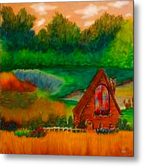 Landscape Metal Print featuring the drawing Country by Karen R Scoville