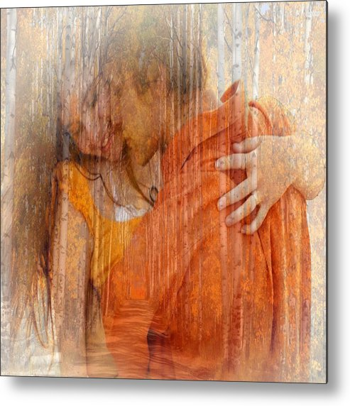 Digital Metal Print featuring the digital art Couple Kissing In The Woods by Clive Littin