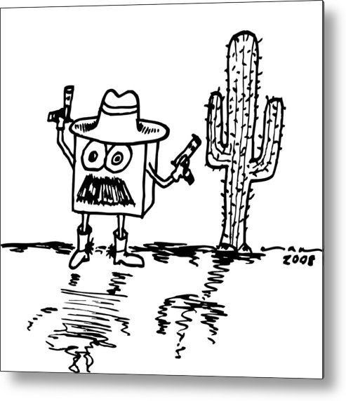 Drawing Metal Print featuring the drawing Cowboy Box by Karl Addison
