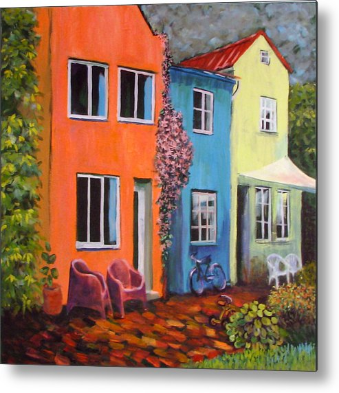 Cozy Metal Print featuring the painting Cozy Street by Art Nomad Sandra Hansen